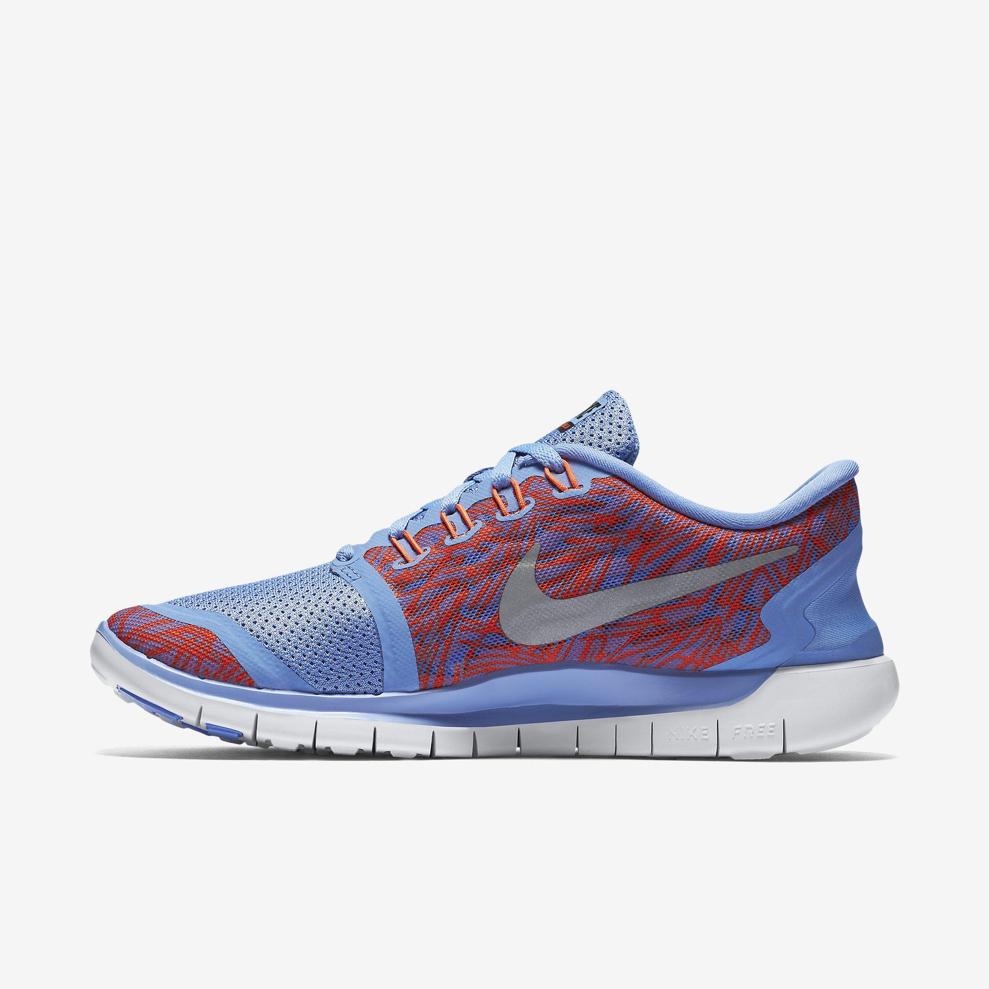 Nike Womens Free 5 0 Print Running Shoes Chalk Blue