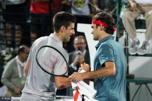 Djokovic and Federer shake hands