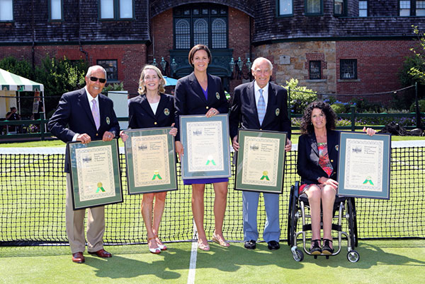 International Tennis Hall of Fame Class of 2014: Nick Bollettieri, Jane Brown Grimes, Lindsay Davenport, John Barrett, and Chantal Vandierendonck   Photo by Kate Whitney Lucey