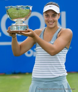 NOTTINGHAM - ENGLAND - JUNE 15: Ana Konjuh of Croatia celebrates winning the Aegon Open Nottingham against Monica Niculescu of Romania with the Elena Baltacha Trophy on day eight of the WTA Aegon Open Nottingham at Nottingham Tennis Centre on June 15, 2015 in Nottingham, England.  (Photo by Jon Buckle/Getty Images for LTA)