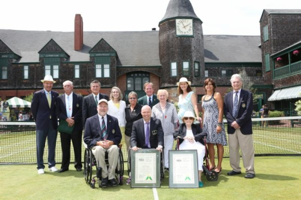 Hall of Famers gathered in Newport to welcome the International Tennis Hall of Fame Class of 2015. Left to right: Stan Smith, Owen Davidson, Jane Brown Grimes, Rosie Casals, ITHF Chairman Christopher Clouser, Peachy Kellmeyer, Pam Shriver, Gigi Fernandez, Vic Seixas, Brad Parks, David Hall, Nancy Jeffett.    Photo by Kate Whitney Lucey