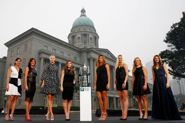 The 2015 BNP Paribas WTA Finals Singapore presented by SC Global returns to Singapore for the second consecutive year with the top women competing for $7 million in prize money from October 23 to November 1. This year's singles field poses with the Billie Jean King Trophy in front of the National Gallery Singapore. Left to Right: Flavia Pennetta (Italy), Agnieszka Radwanska (Poland), Maria Sharapova (Russia), Simona Halep (Romania), Garbiñe Muguruza (Spain), Petra Kvitova (Czech Republic), Angelique Kerber (Germany) and Lucie Safarova (Czech Republic). Credit: Getty Images.