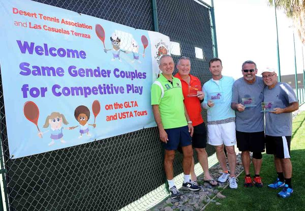 during the 2015 same-gender couples' doubles tournament in Palm Springs, California at the Plaza Racquet Club March 8, 2015