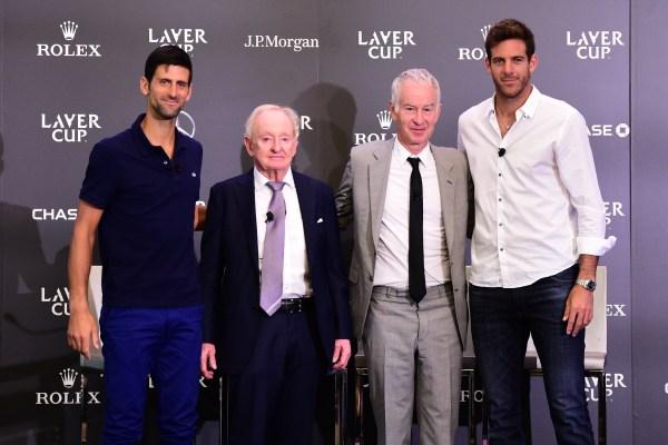 Djokovic, Laver, McEnroe & del Potro at Laver Cup team announcement August 21 2018