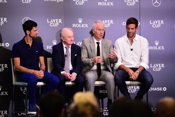 Novak Djokovic, Rod Laver, John McEnroe & Juan Martin del Potro Laver Cup team announcement NYC August 21 2018.jpg
