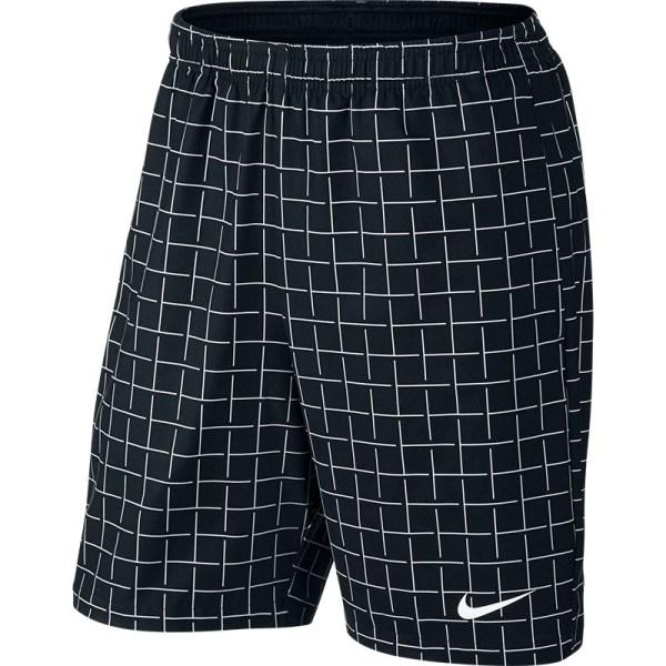 Nike Court Plaid 9' Men' Tennis Short Black White