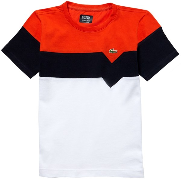 Lacoste Color Block Boys Tennis T-shirt White Navy Red