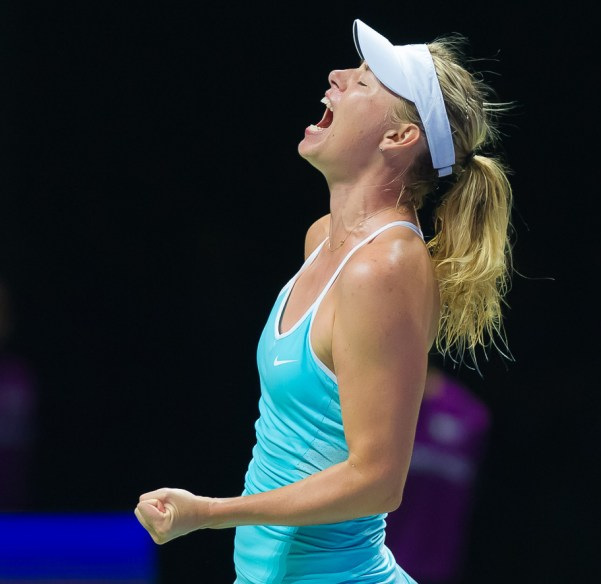 SINGAPORE, SINGAPORE - OCTOBER 25 : Maria Sharapova in action at the 2015 WTA Finals