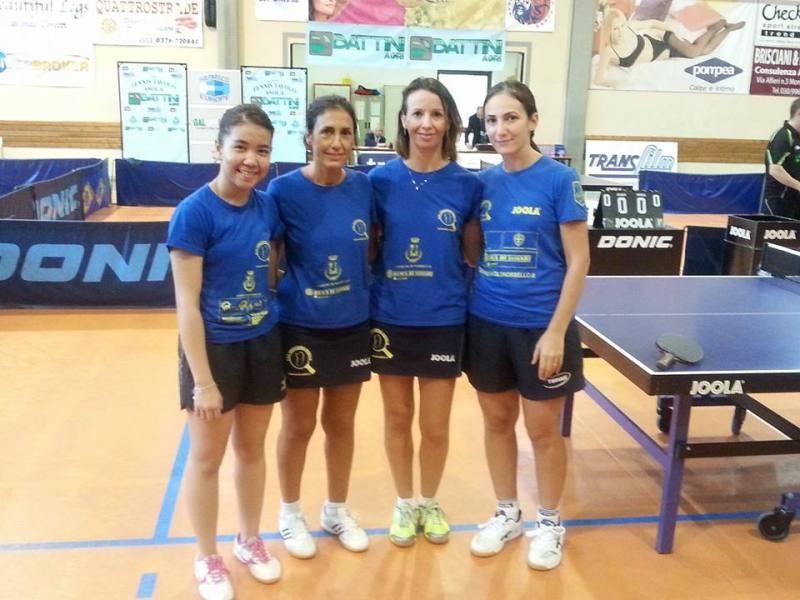 La formazione di A2 femminile che ha giocato nel concentramento di Asola da sx Pam, Locci, Di meo e Atoyan