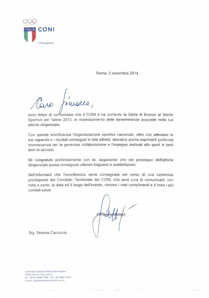 Lettera Stella Bronzo Simone CONI - 20-04-2016