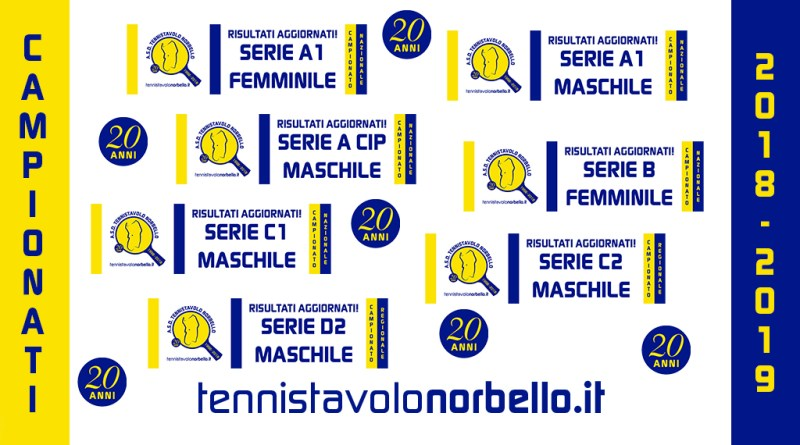 I Campionati a Squadre 2018/2019 del Tennistavolo Norbello