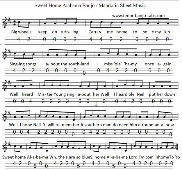 I first learnt it as a fill in song, one where. Sweet Home Alabama Sheet Music Tenor Banjo Tabs