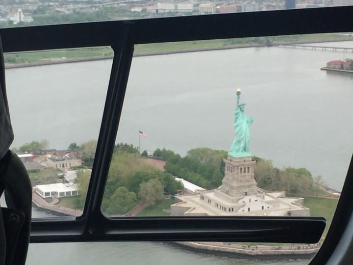 Statue of Liberty from a Helicopter