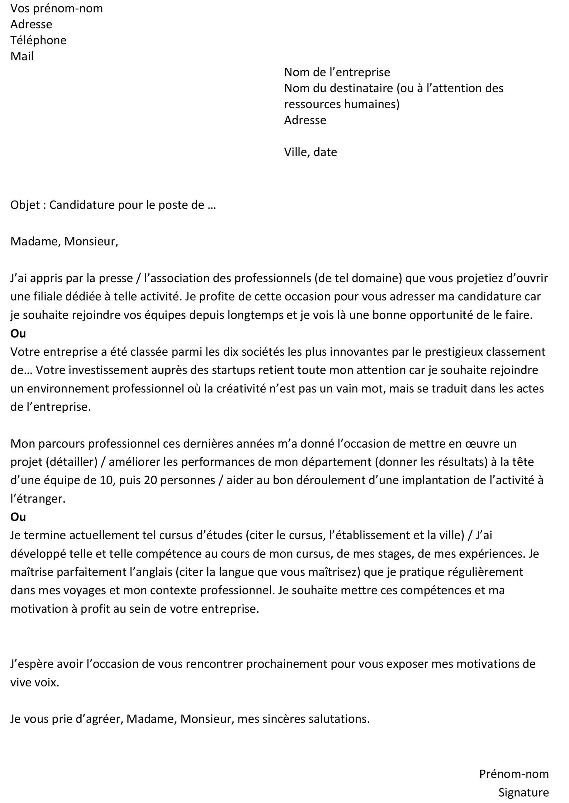 image lettre de motivation date lettre de presentation