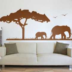 Ideas For Living Room Wall Colours Light Brown Leather Sofa African Elephant Safari Sticker - Tenstickers