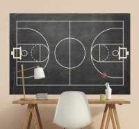 Basketball Court Chalkboard Sticker - TenStickers