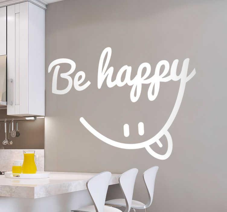 Be Happy Smile Sticker  TenStickers