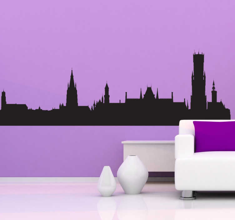 mirrored living room paint colour ideas for small bruges skyline sticker - tenstickers