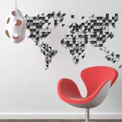Ideas For Living Room Wall Colours Light Blue And Brown Grey Geometric World Map Sticker - Tenstickers