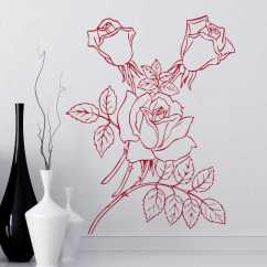 Kitchen Spatula Real Wood Cabinets Rose Stem Outline Decal - Tenstickers