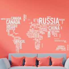 Wall Stickers Living Room Twin Bed In World Map Text Sticker - Tenstickers