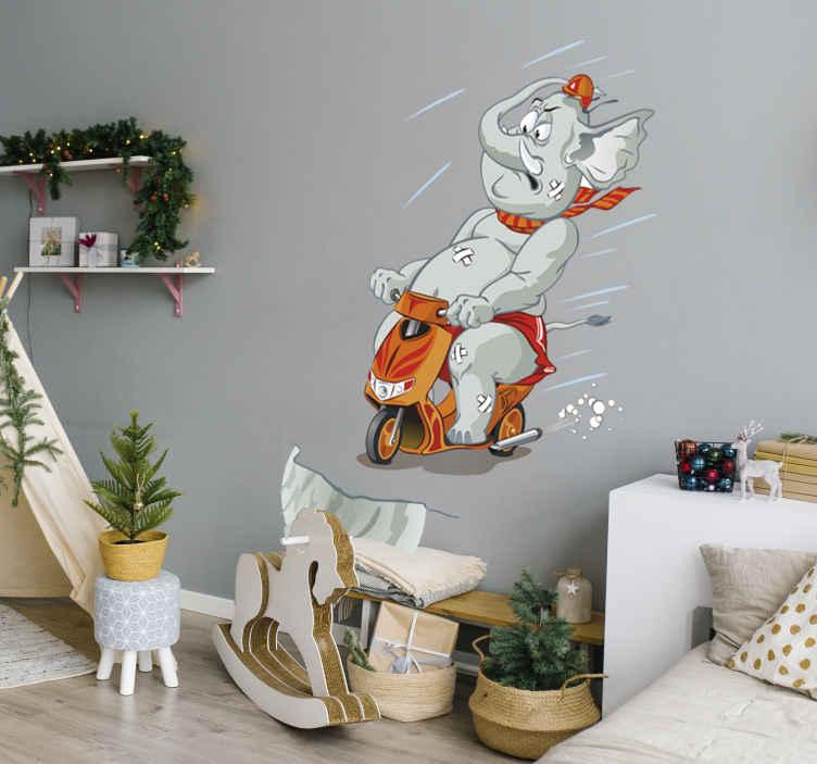 Elefant auf Motorrad Aufkleber  TenStickers