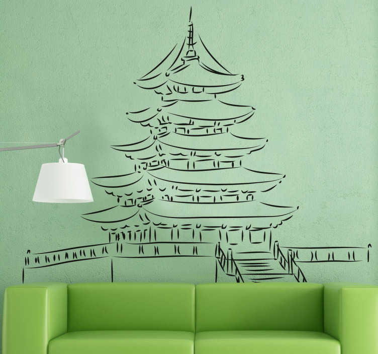 Sticker pagode japonaise temple  TenStickers