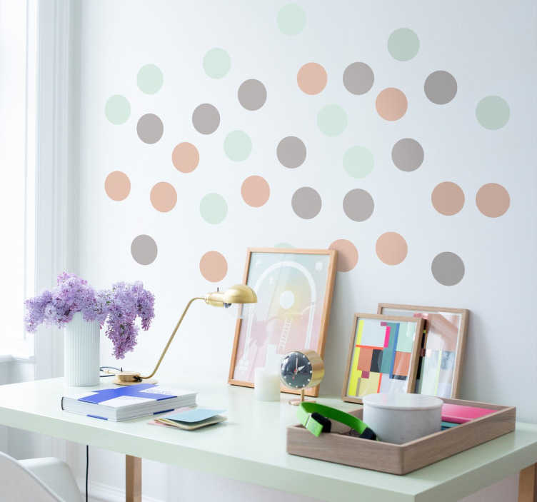 Stickers ronds couleurs pastel  TenStickers