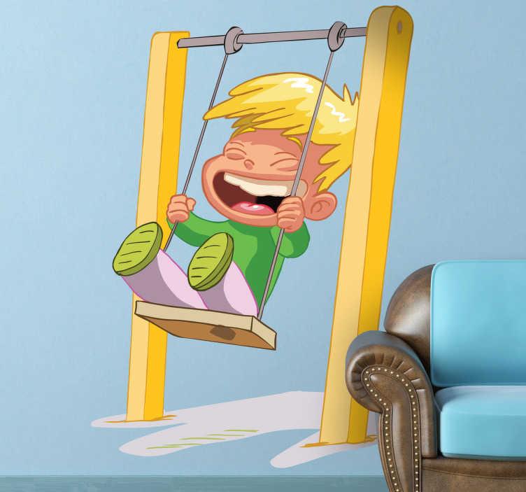 Adesivo bambini risate su altalena  TenStickers