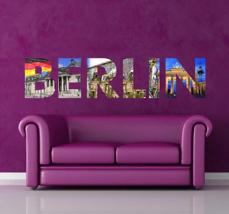 Stencil muro scritta Berlino  TenStickers