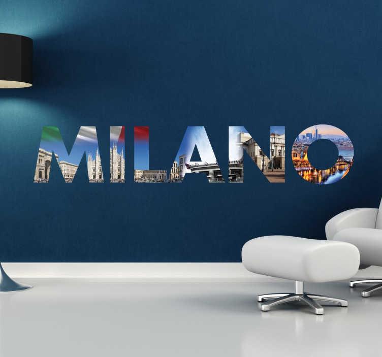 Stencil muro scritta Milano  TenStickers