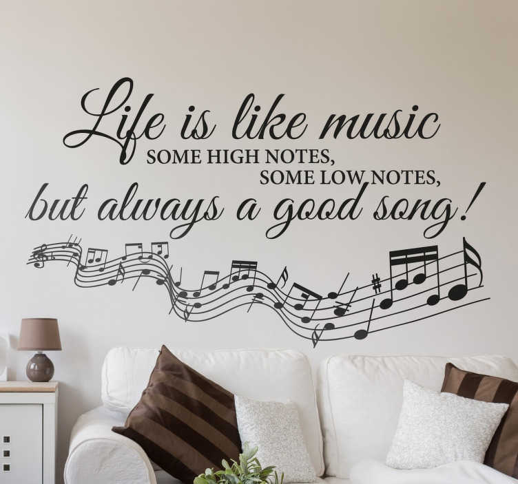 Life is Like Music Muursticker  TenStickers