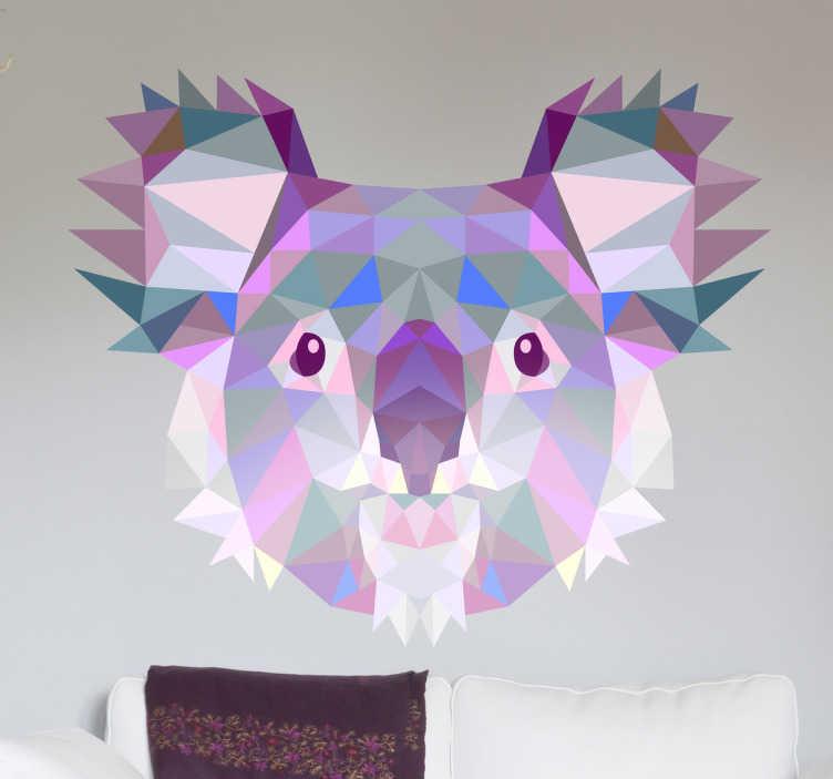 Muursticker 3D prisma koalabeer  TenStickers