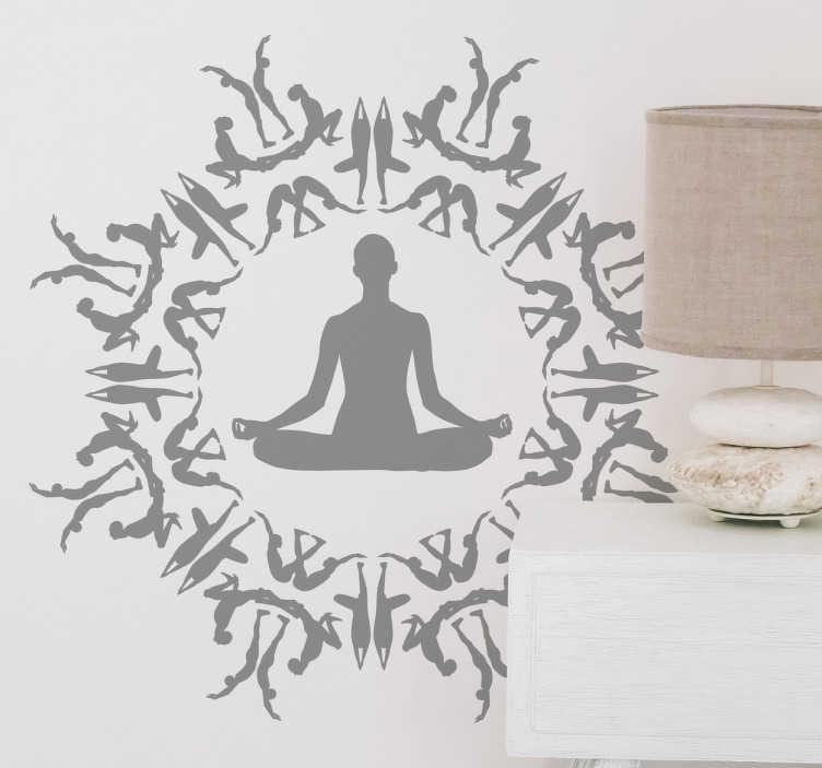 Muursticker yoga figuren cirkel TenStickers