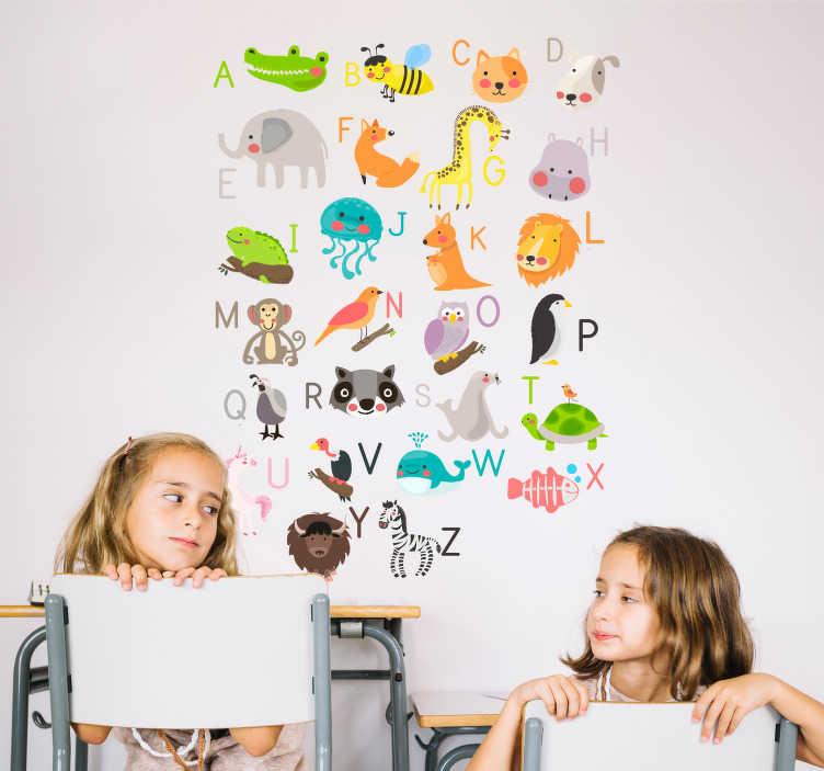 Kinderkamer muursticker dieren alfabet engels  TenStickers