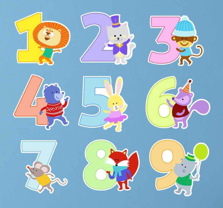 Sticker getallen met dieren  TenStickers