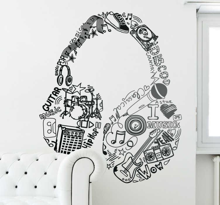 Sticker Muziek hoofdtelefoon  TenStickers