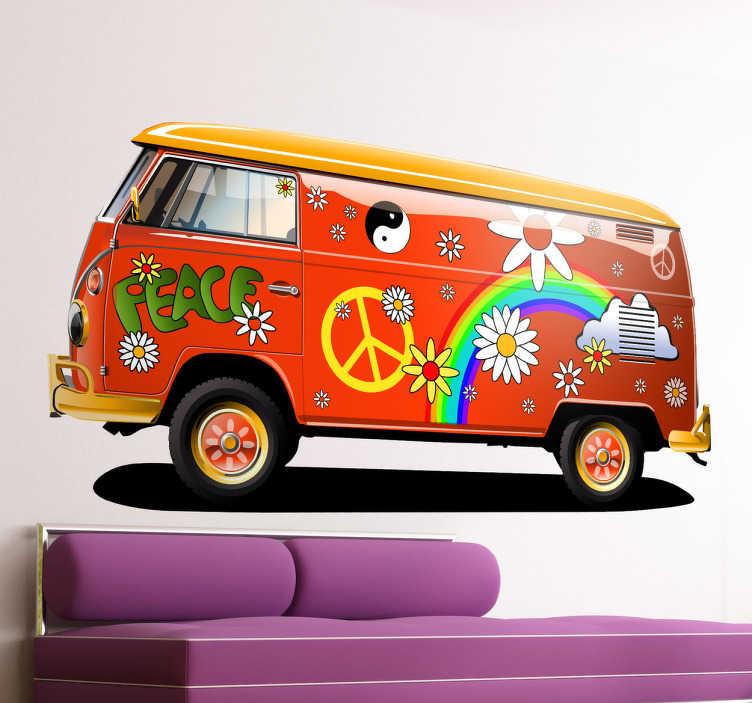 Sticker volkswagen T1 VW hippie bus  TenStickers