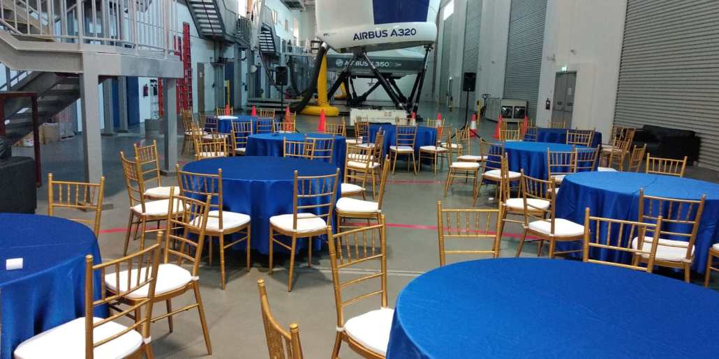 tiffany chair with round tables at Airbus training centre