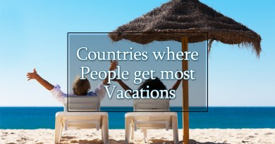 Countries where people get most vacations