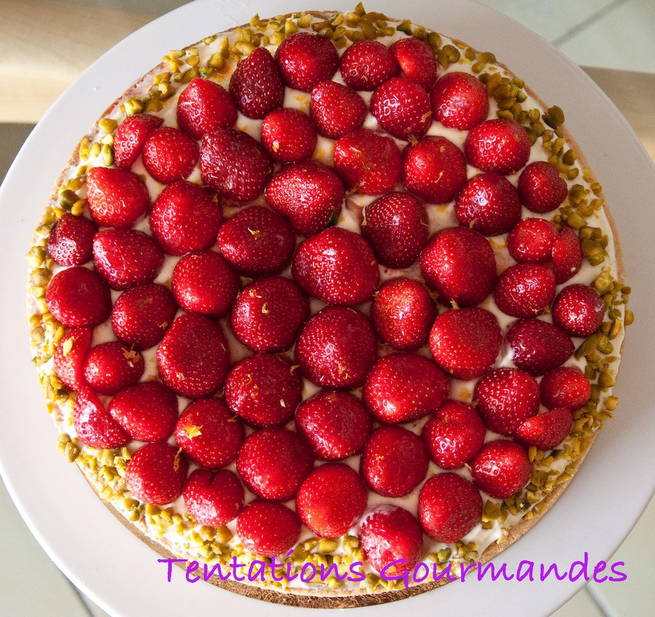 Tarte fraises mascarpone pistache