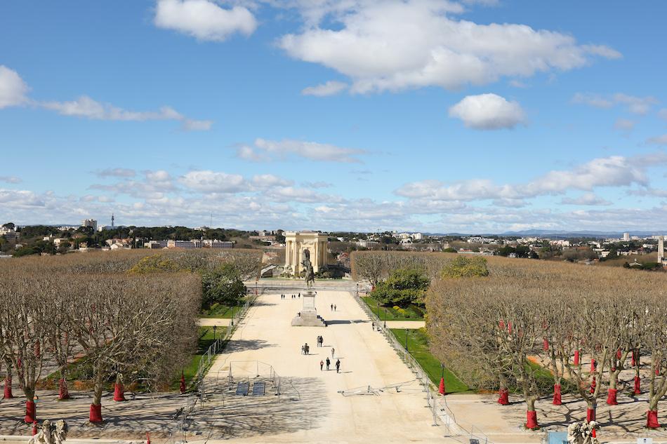 Les jardins du Peyrou et la statue de Louis XIV
