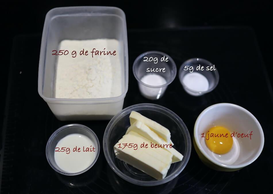 Les ingrédients de la pâte brisée