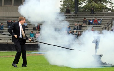New Westminster Mayor Jonathan Coté flinches as he gets his turn to fire the anvil salute. Photo by Mario Bartel