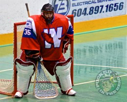 Eric Penney tending the net