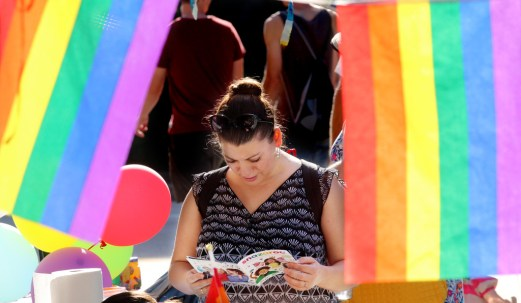 PHOTO BY MARIO BARTEL Various community and LGBTGQ organizations offered resources at Saturday's Pride street party in New Westminster.