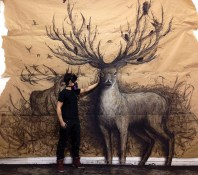 The Guardian, (Original: sold. Prints: available, prints sizes varies), 13 feet x 10 feet. Charcoal on brown paper.