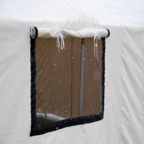 Screened opening with extra canvas flap and Velcro closure