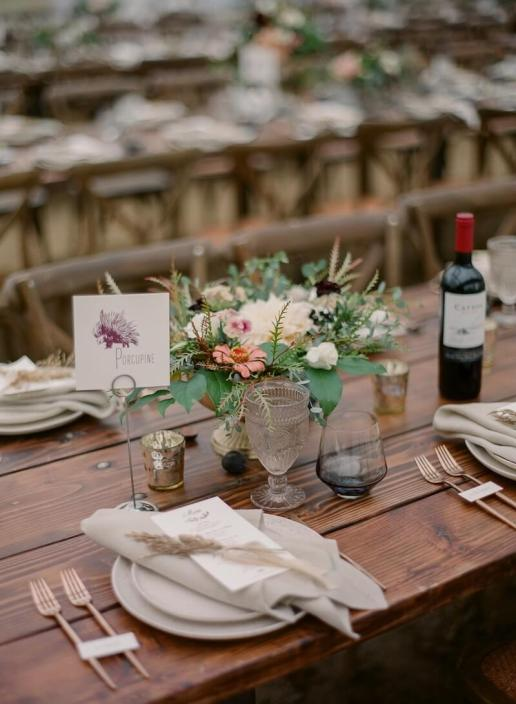 Farm Tables & X Back Chairs With Rose Gold Flatware