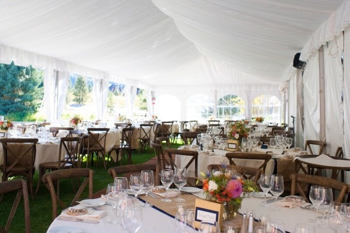 Fabric Lined Tent With X Back Chairs & Round Tables